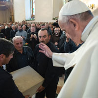 Pope Francis Blesses Corner Stone